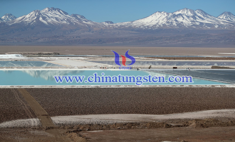 Brine pools from a lithium mine in the Atacama Desert in Chile image