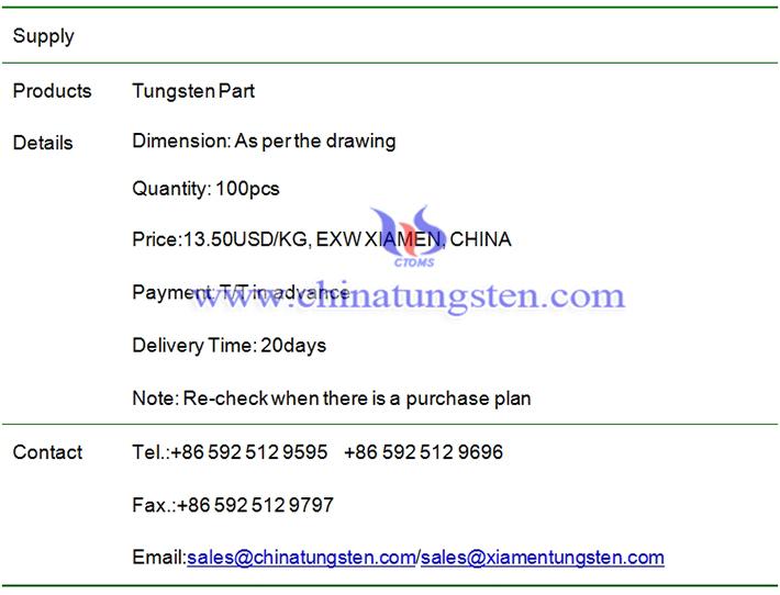 tungsten part price image