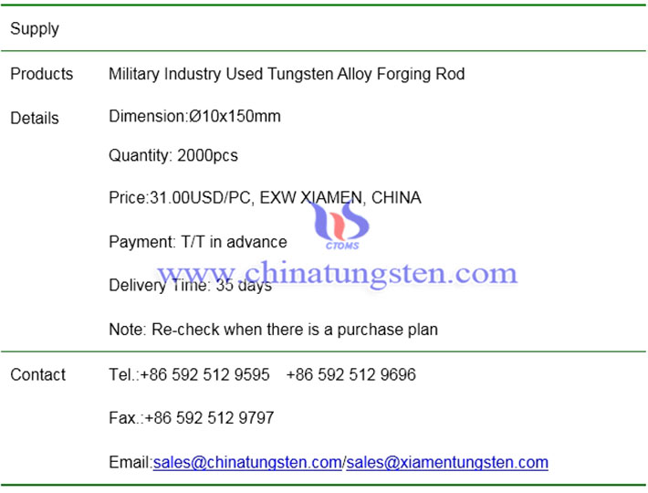 military industry used tungsten alloy forging rod price image