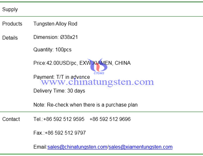 tungsten alloy rod price image