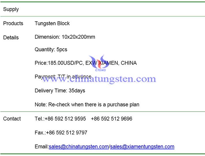 tungsten block price image