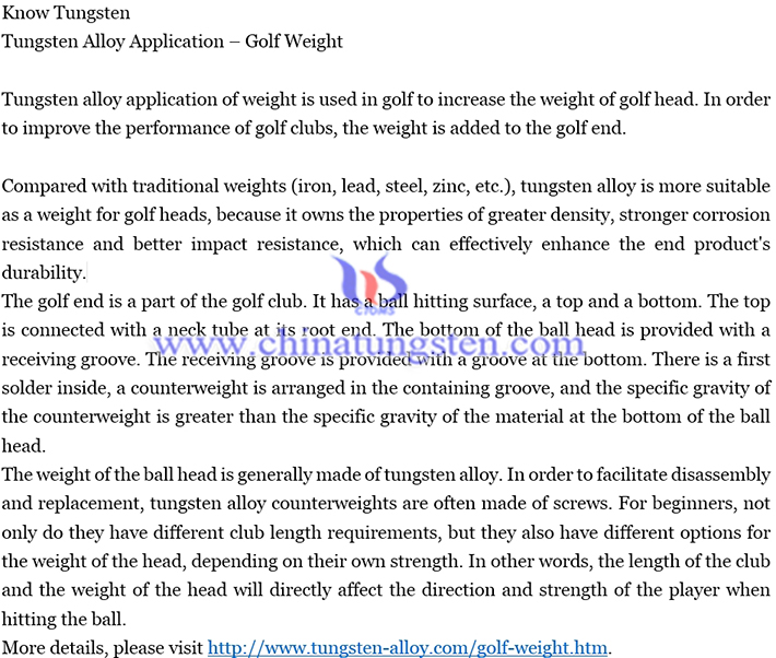 tungsten alloy application-golf weight image