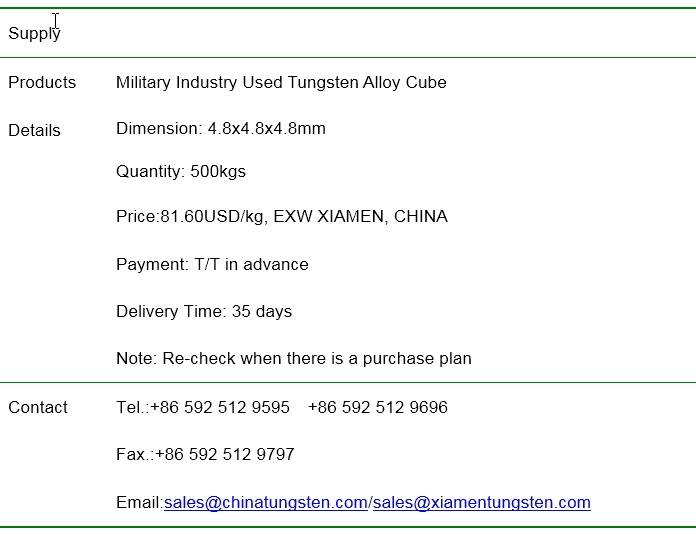 military industry used tungsten alloy cube price image