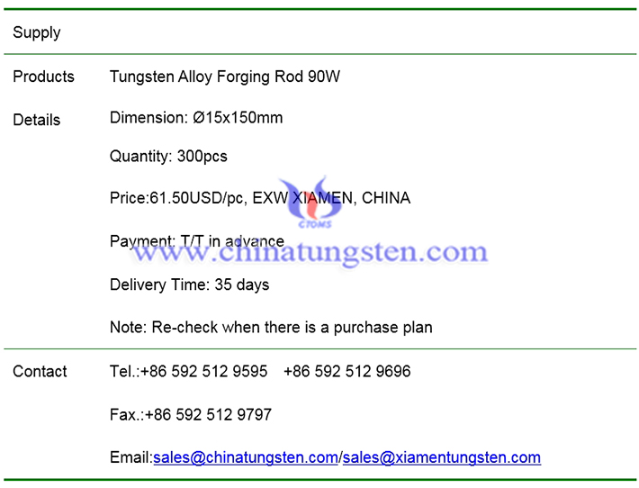 tungsten alloy forging rod price image