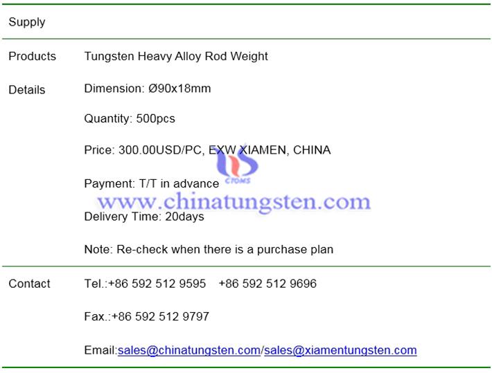 tungsten heavy alloy rod weight price image