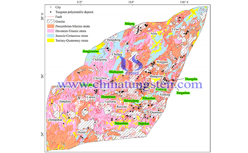 Mineral potential mapping for tungsten image