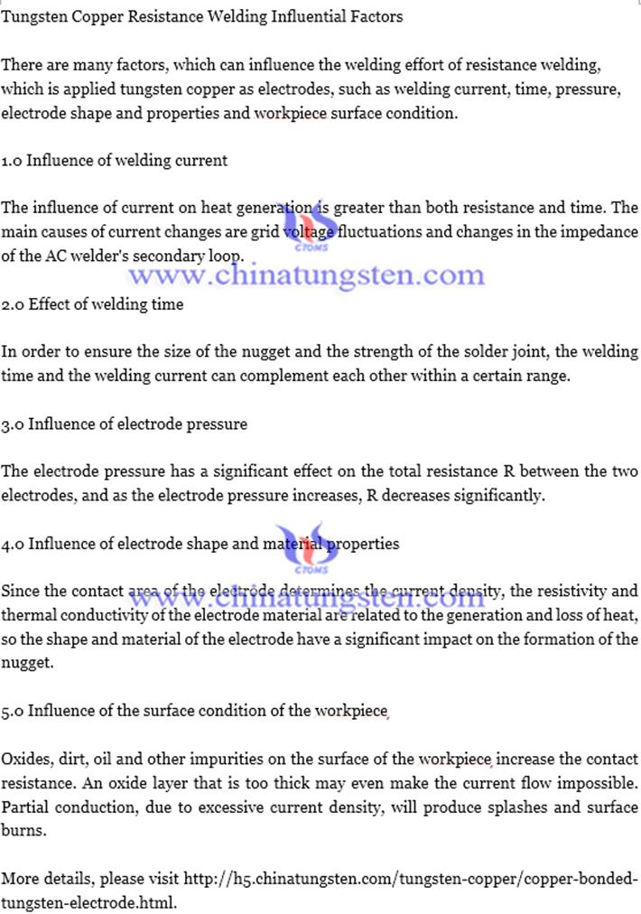 tungsten copper resistance welding influential factors text image