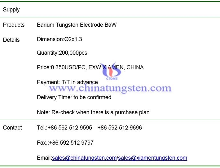 barium tungsten electrode price image