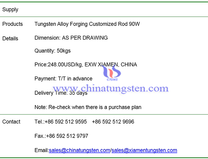 tungsten alloy forging customized rod price image