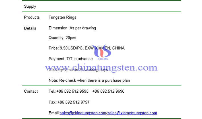 tungsten rings price picture