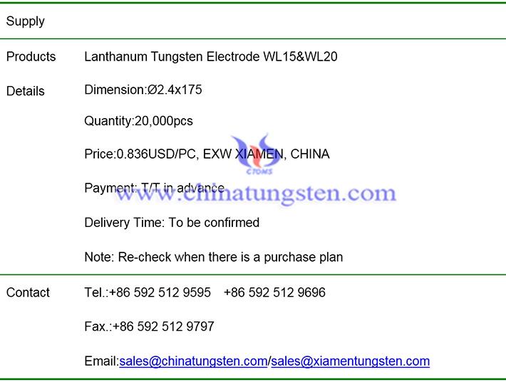lanthanum tungsten electrode price image
