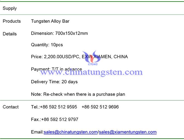 tungsten alloy bar price image
