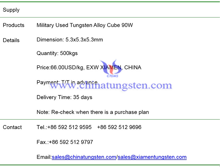 military used tungsten alloy cube price image