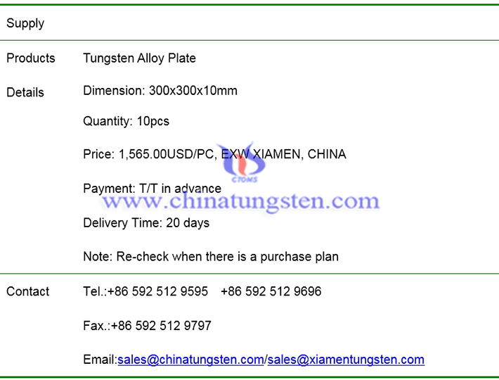 tungsten alloy plate price image