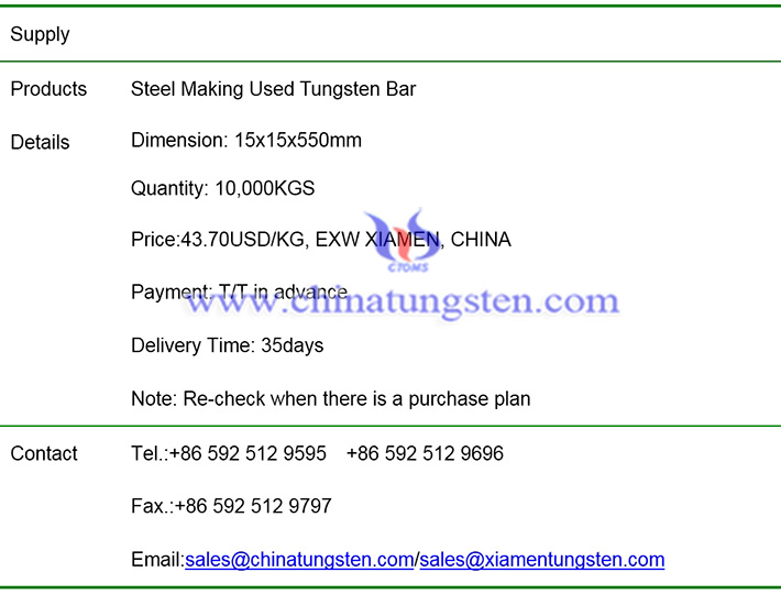 steel making used tungsten bar price image