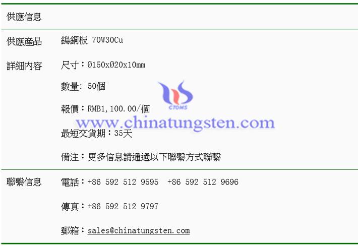 鎢銅板價格表圖片