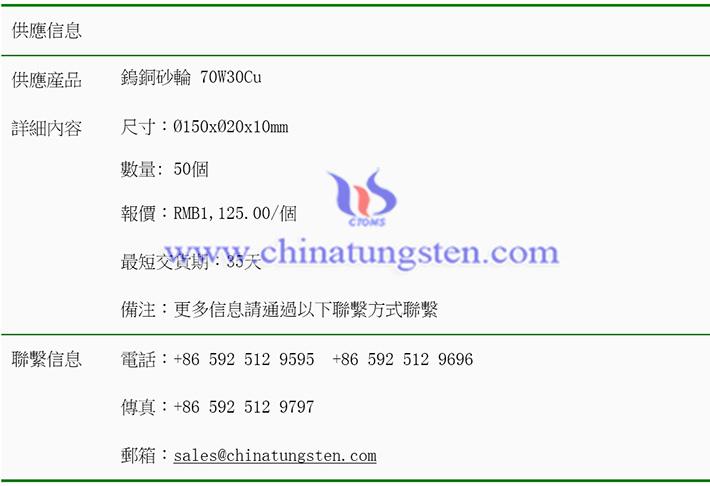 鎢銅砂輪價格表圖片