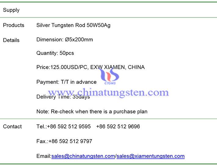 silver tungsten rod price image