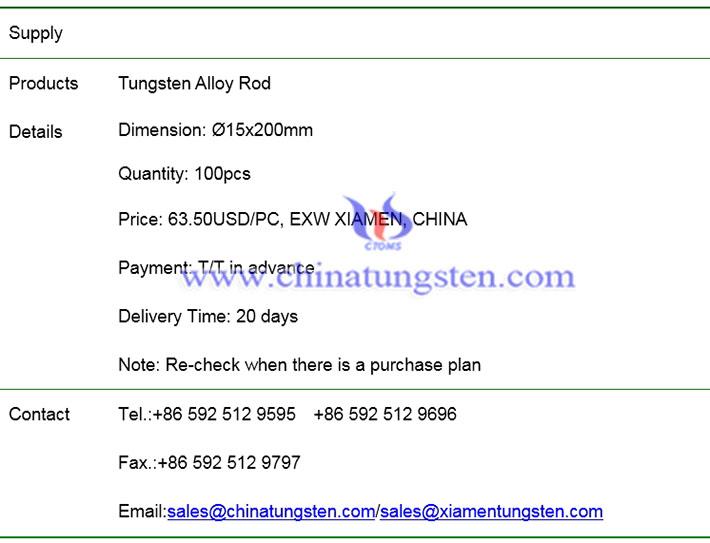 tungsten alloy rod price image