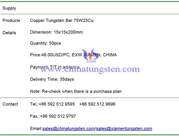 copper tungsten bar price image