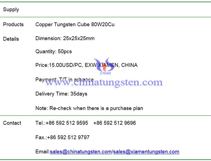 copper tungsten cube price image
