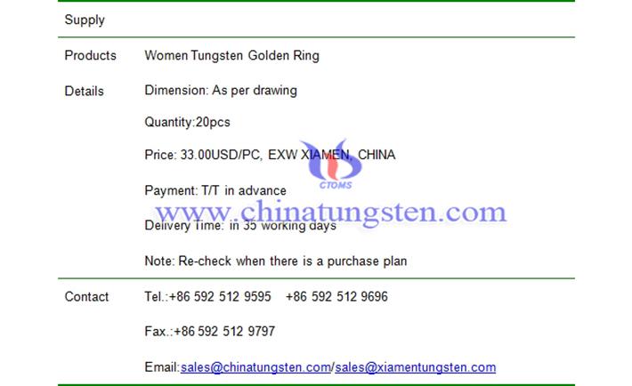 women tungsten golden ring price picture