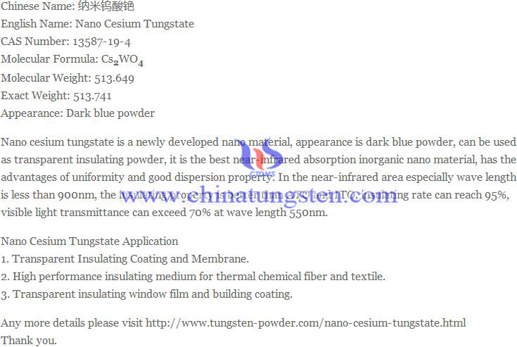 nano cesium tungstate image