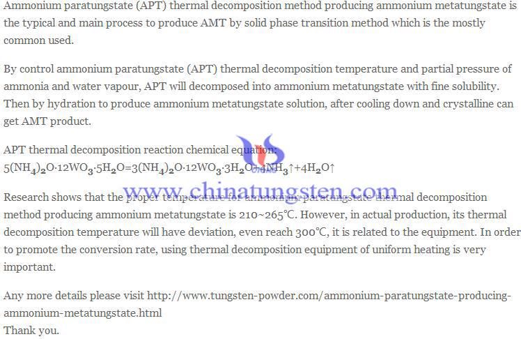 ammonium paratungstate producing ammonium metatungstate image