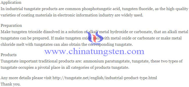 tungstate industrial type image