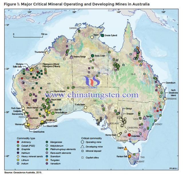澳大利亚主要关键矿产经营开发