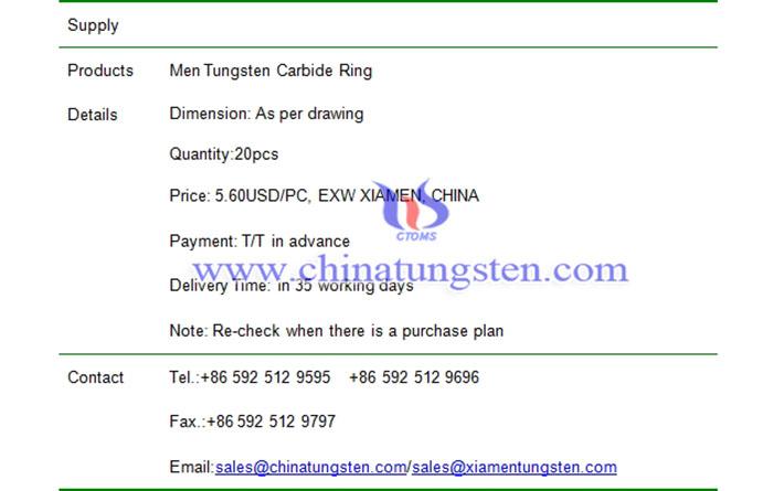 men tungsten carbide ring price image